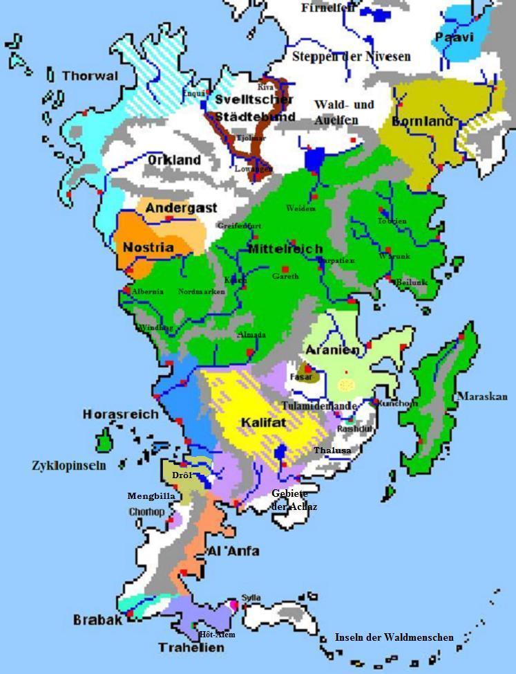 das schwarze auge karte Politische Karte prä Borbarad   DSA Forum
